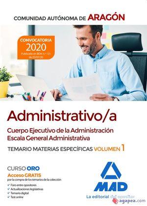 TEMARIO ESPECIFICO ADMINISTRATIVO/A D.G.A. VOL. 1