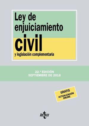 LEY DE ENJUICIAMIENTO CIVIL Y LEGISLACION COMPLEMENTARIA 2018