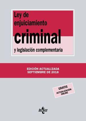LEY DE ENJUICIAMIENTO CRIMINAL Y LEGISLACION COMPLEMENTARIA 2018