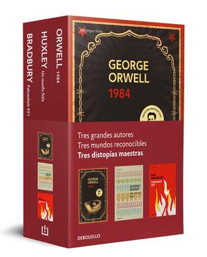 DISTOPÍAS MAESTRAS (PACK CON: 1984 DE ORWELL  UN MUNDO FELIZ DE HUXLEY  FAHRENHEIT 451 DE BRADBURY)
