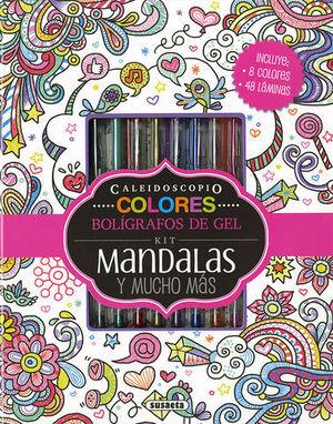 KIT DE MANDALAS Y MUCHO MAS ( INCLUYE 8 BOLIGRAFOS GEL )