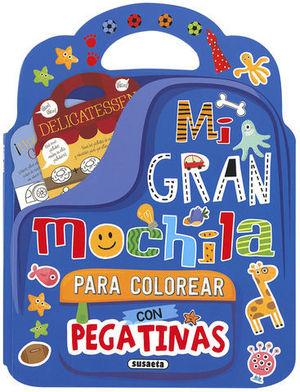 MI GRAN MOCHILA PARA COLOREAR CON PEGATINAS ( AZUL OSCURO )