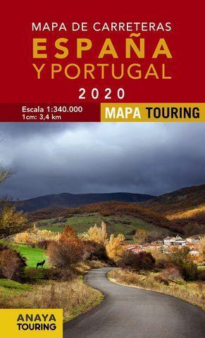 MAPA DE CARRETERAS DE ESPAÑA Y PORTUGAL 2020  ( ESCALA 1:340.000 )